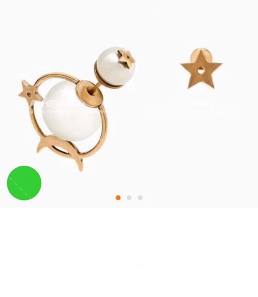 Populaire marque de mode haute version étoile lune perle boucles d'oreilles pour dame conception femmes fête mariage amoureux cadeau de luxe bijoux avec boîte
