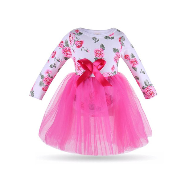 INS hot children's skirt spring and autumn models girls pink rose printed white long-sleeved shirt pink bow Gauze princess dress dr