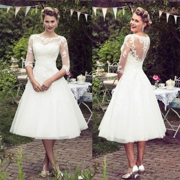 Vintage 1920s Tea-length Wedding Dresses with Long Sleeve 2019 Sheer Jewel Lace Applique Illusion Back Short Informal Wedding Gown