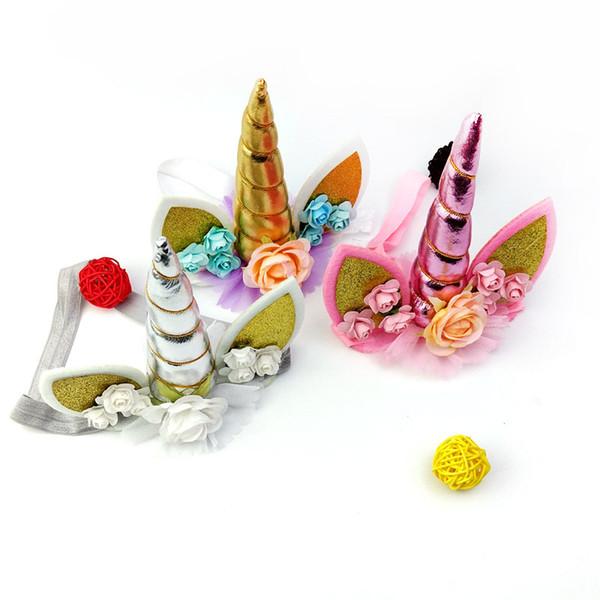 2018 Новый 3 цвета ткань Единорог детский праздник Радуга головной убор ручной оголовье день рождения оголовье мультфильм животных