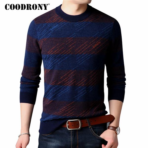 COODRONY Merino Wool Sweater Hombre Moda O-Neck Pullover Hombres 2018 Invierno New Arrivals Thick Warm Cashmere Sweaters Prendas de punto 8311