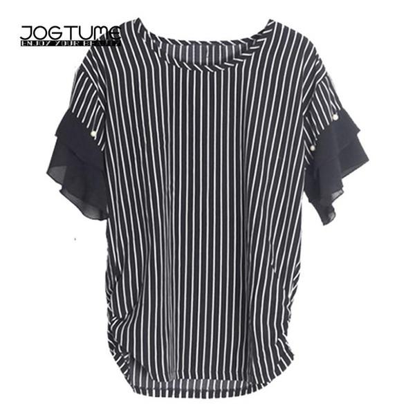Womens Striped Chiffon Shirts White Black 2018 Fashion Style Female Beads Tops Ruffles Sleeve Plus Size 5XL Office Ladies Blouse