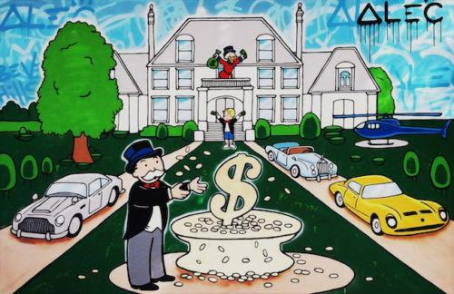 Alec Monopoly Handpainted Abstract graffiti Art oil painting Rich Man Mansion Home Decor Wall Art On High Quality Canvas Multi Sizes g201
