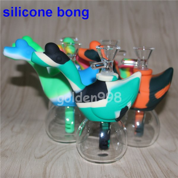 Swan Shape Silicone water Pipes for Smoking Unbreakable Water Percolator oil rig Bong Smoking Pipe Silicone dab Rig silicone wax containers