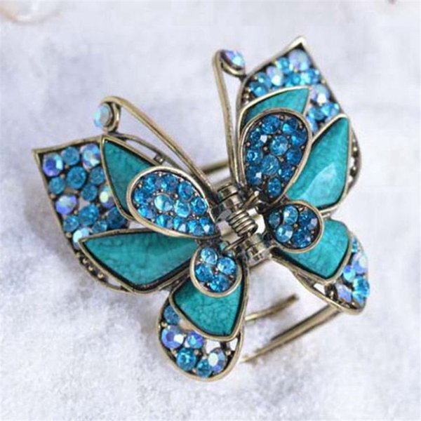 Charm Multicolor Resin Big Butterfly Crab Clip Hair Jewelry Antique Gold Vintage Rhinestone Hair Claw For Women Hair Accessories S919