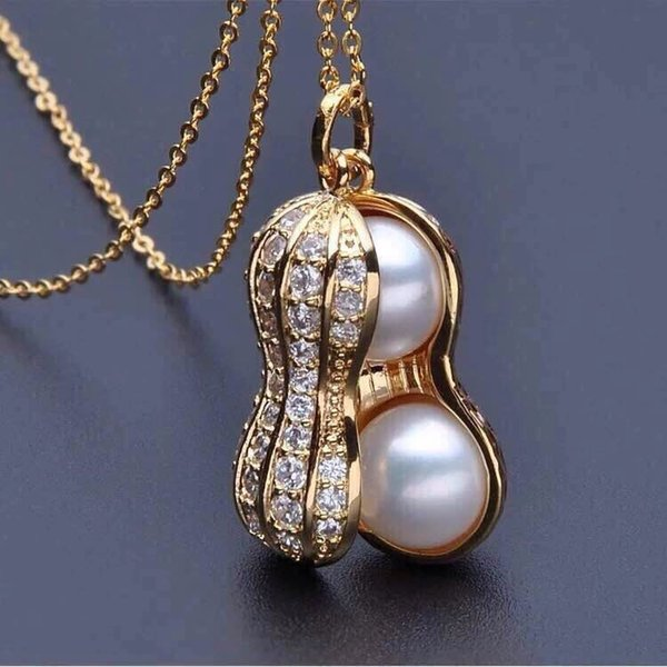 Fashion Creative Jewelry Micro inlay CZ Zircon Gold Color Peanut Beans White Pearl Pendant Necklace For Women Gift#S