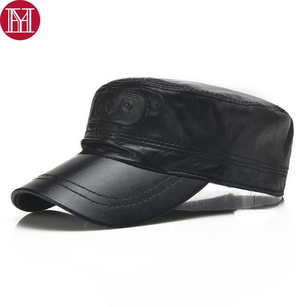 Men Real Sheepskin Leather Baseball Caps Male Casual Real Genuine Sheep Skin Leather Hats 2018 New Fall Winter Top Hat
