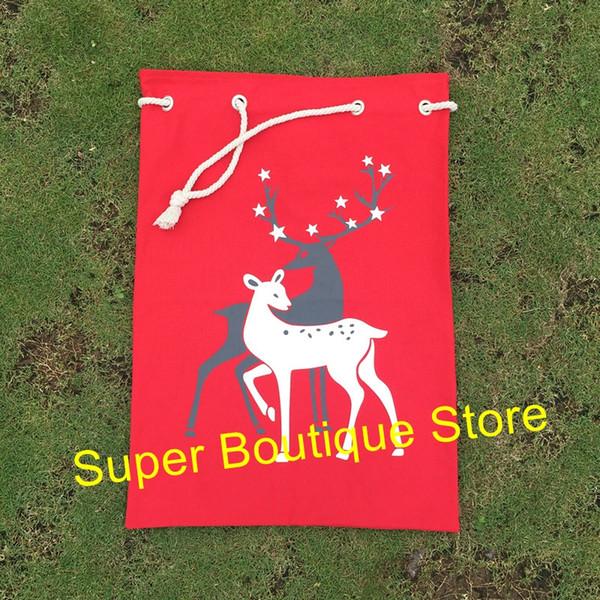 Wholesale Monogram Deer Pattern Design Santa Sack personalize Christmas santa gift bags drawstring Christmas canvas santa sacks
