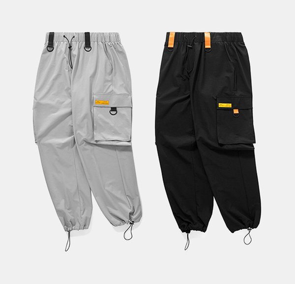 2018 Printemps / Automne Taille Patchwork Élastique Piste Pantalon Lâche Hip Hop Coupe-Vent Streetwear Pantalon Harem Swag Cargo Pants
