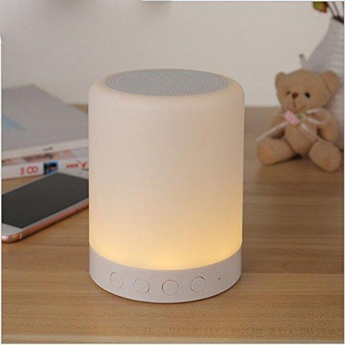 Small Table Lamp Speaker, Portable Mini Size Wireless Bluetooth 4.0 7 Color LED Speakers with HD Sound Supporting TF Card Play