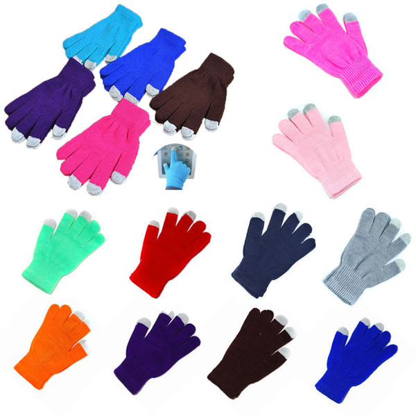 top popular Unisex Knitted Touch Screen Gloves Winter Warm Knitted Gloves Full Finger Mittens Christmas Party Favor Gift 14Colors HH7-1817 2021
