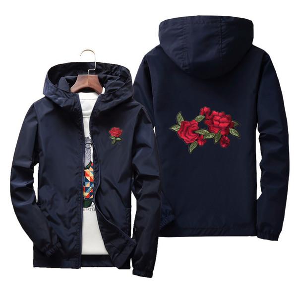 Rosas bordadas casais trench coats ao ar livre homens e mulheres primavera e outono tamanho grande sobretudos blusão