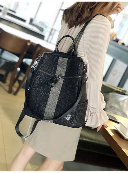 2018 yeni geldi yumuşak PU Deri / Tab Kapatma çantası / bayan kova çantası 2018 yeni geldi PU Deri / YUMUŞAK deri Sırt Çantası siyah