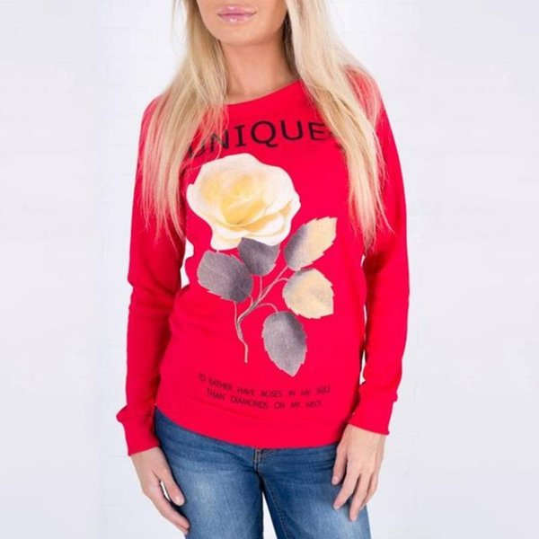 Women Tops Tee For Spring Autumn Style Long Sleeve Shirt O-Neck Rose Printed Lady Clothing Casual Shirt LJ9800Y