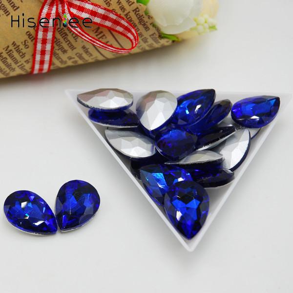 High quality fashion sapphire glass drop shape ladies nail art decoration art decoration 4x6MM 100PCS charm crystal pebbles