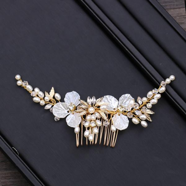 Bridal Headdress Wedding Hair Clips Combs for Bride Pearls Hairpins Bridal Hair Combs Gold Bridal Headpiece Women Hair Jewelry Accessories