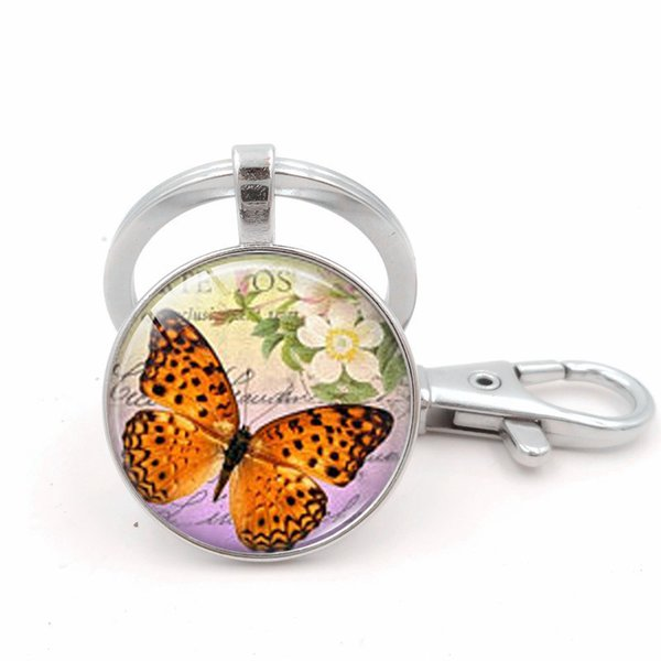 New fashion butterfly round glass picture ring key chain car key ring bag pendant small gifts for women 2018