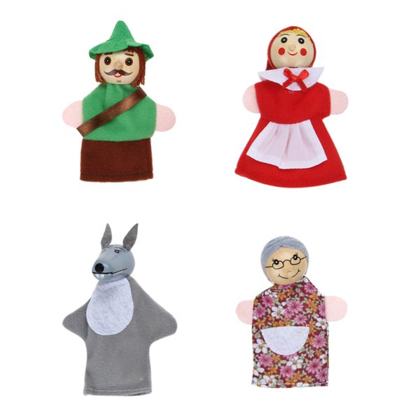 4pcs/Lot Kids Baby Toys Finger Puppets Doll Plush Puppets on Hand Hood Wooden Headed Fairy Tale Story Hand Puppet Toy
