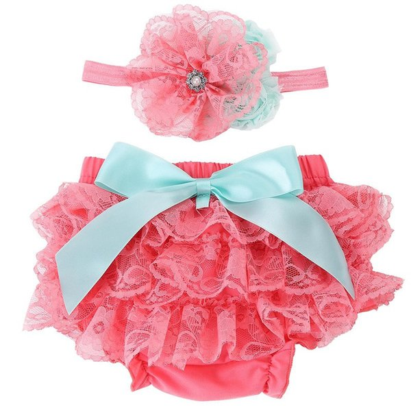 Baby Bloomers Ruffle Lace Diaper Cover and Headband Set Newborn Tutu Ruffled Panties Baby Girls,Leopard Infant Baby Short PP Pants