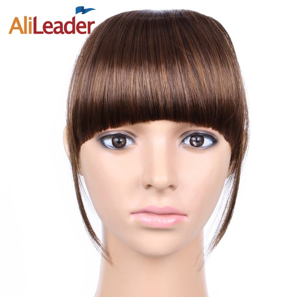 AliLeader False Bangs Hairpiece For Women, Black Brown Blonde Synthetic Hair Clip In Fringe Extensions