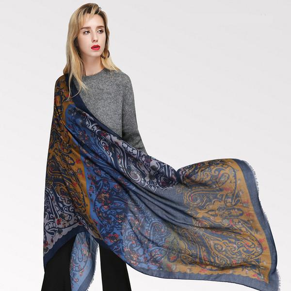 Silk Satin Cotton Scarf Women Echarpe Femme Print Scarves Stoles Retro Ethnic Style Shawls Pashmina For Ladies Wraps