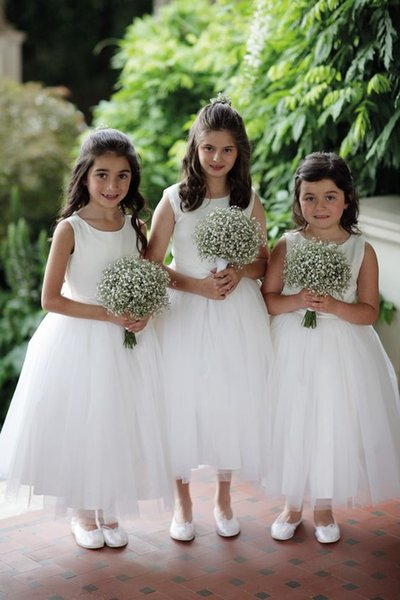 2018 Cheap Lovely Short Flower Girls Dresses Lace Ruffles Tulle Tutu Dress Puffy Little Girls Formal Wedding Party Gowns