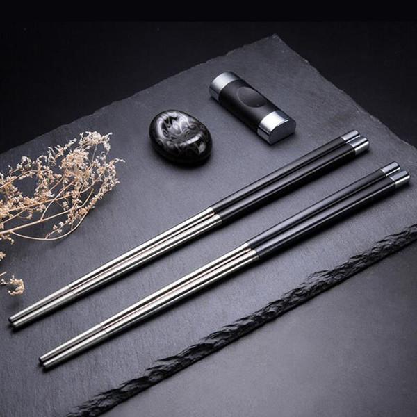 Japanese Style Chopsticks Set Stainless Steel Reusable Travel Exquisite Cutlery Chopsticks Holder Rack Free Shipping ZA6207