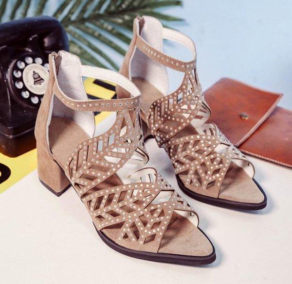 Talon Talons Pour Jusqu'à TAILLE35 Vintage Bas Acheter Femmes Zipper Sandales Dentelle Toe D'été Femme 40 Évider Open Zapatos Gladiateur Chaussures X8nwPk0ZON