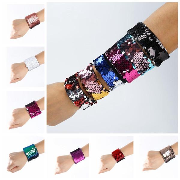 17 colores pulseras del encanto diy sirena de lentejuelas pulsera brazalete de la joyería del banquete de boda regalos de la joyería de Navidad KKA3642