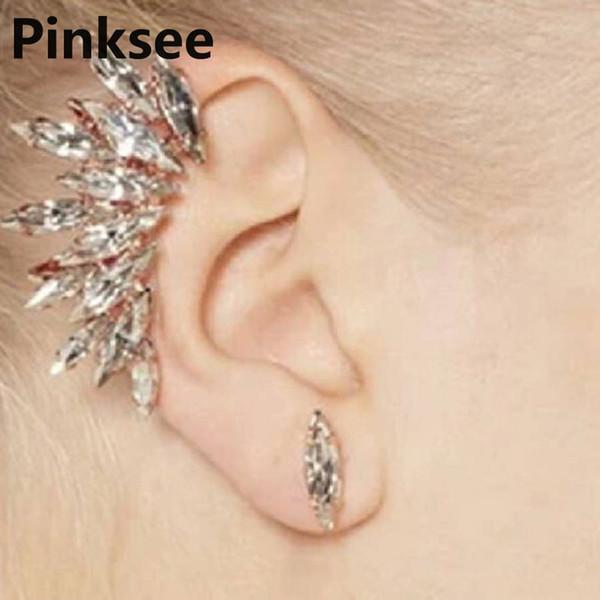 1PC Punk Celebs Wing Shape Crystal Ear Cuff Women Golden Earrings Warp Clip Set Jewelry Party Accessories Drop Free