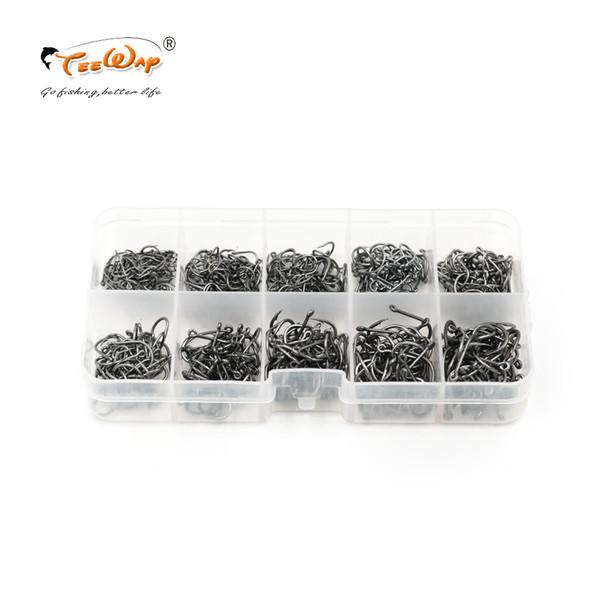 500pcs / box Crochet de pêche en acier à haute teneur en carbone Taille # 3- # 12 Fishhooks Paquet de pêche de carpe