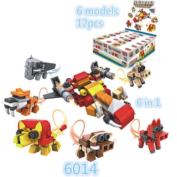 12pcs/lot Hsanhe Mini Blocks display box Series cow dog animal and plane 2 changes 6 in 1 Children educational Building Brick #6014