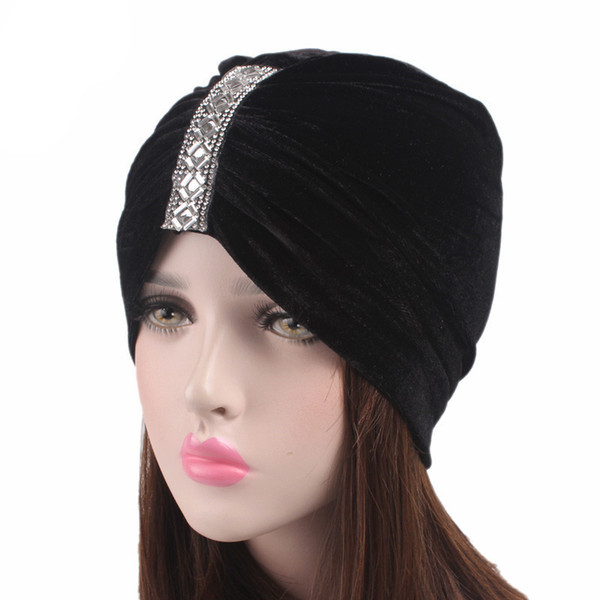Muslimische Frauen Strass Rüsche Samt Turban Kappe Chemo Beanie Hut für Krebspatienten Damen Bandanas Haarschmuck