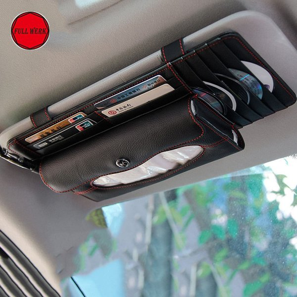 Genuine Leather Car Tissue Box Holder Sun Visor Organizer 5-Pocket CD DVD Clip Multifunction Stowing Tidying Car Accessories