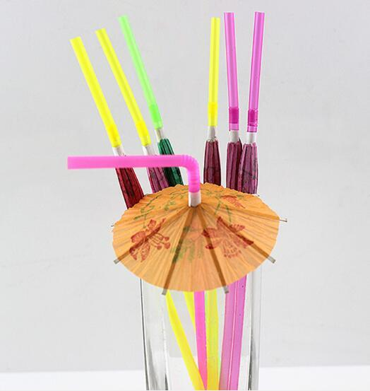 Paper Umbrella Cocktail Drinking Straws Picks Cocktail Sticks Wedding Event Holiday Party Supplies Bar Decorations Wholesale