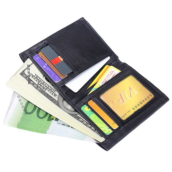 Misfits Leather Man Wallet Diseñadores de lujo Tri-fold Wallet Carteras de cuero genuino Male Multifunctional Driver License Holder