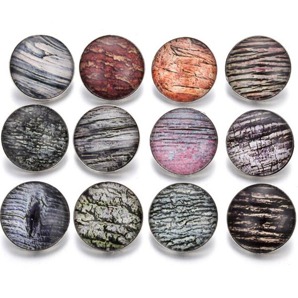 10pcs New Snap Button Jewelry 18mm Charms Vintage Marble Printed Glass Snap Buttons Fit Snap Bracelet for Men