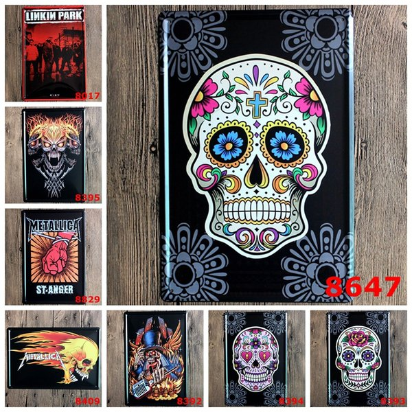 Metal Art Iron Paintings Linkin Park Skull Head No Frame Tins Poster Vintage 20*30cm Tin Signs To Party Bar Decoration 3 99ljt BZ