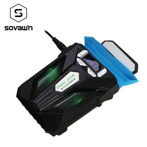 Sovawin Notebook Laptop USB Cooling Fan Silent Cooler Adjustable Speed Temperature Display LED Light for 12-17 Inch Laptop