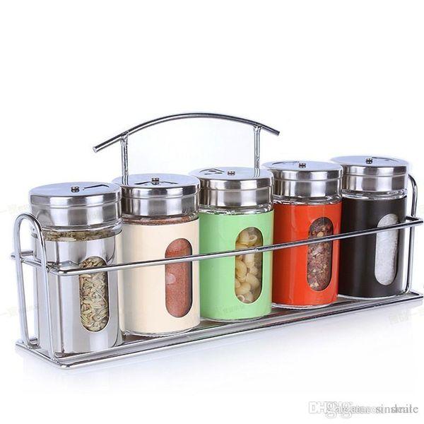 Wholesale- New 6pcs/set Kitchen Storage Jar Glass Condiment Bottle Spice Jar Set With Spice Rack Rotating BBQ Seasoning Boxes Bottle