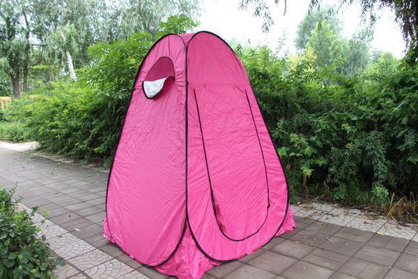 150 * 150 * 190 cm color rojo rosa privacidad portátil al aire libre viendo Pop Up carpa baño / ducha / tienda de cambio de plata