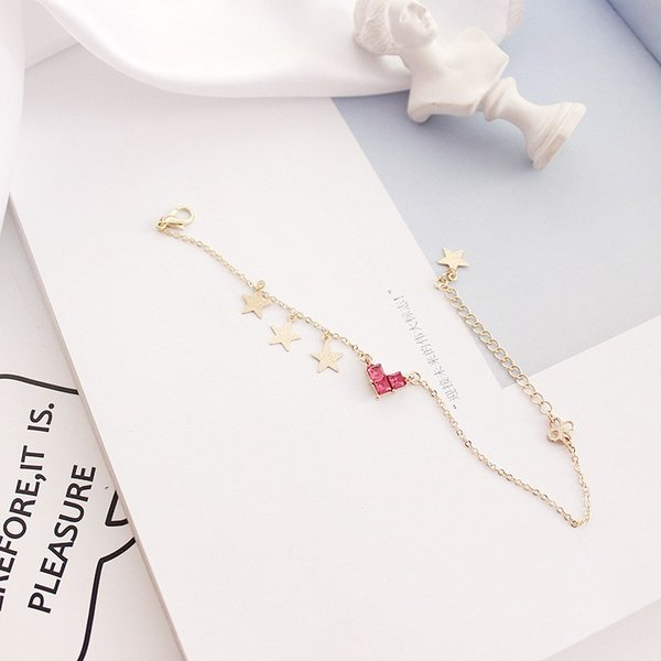 Fashion 2018 New Hot Simple Red Heart Star Tassel Charm Bracelets Cute Japanese Style Red Heart Crystal Bracelets