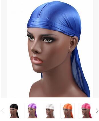 2018 новая мода мужская атласная Durags бандана тюрбан парики мужчины шелковистой Durag головные уборы повязка Пиратская шляпа аксессуары для волос