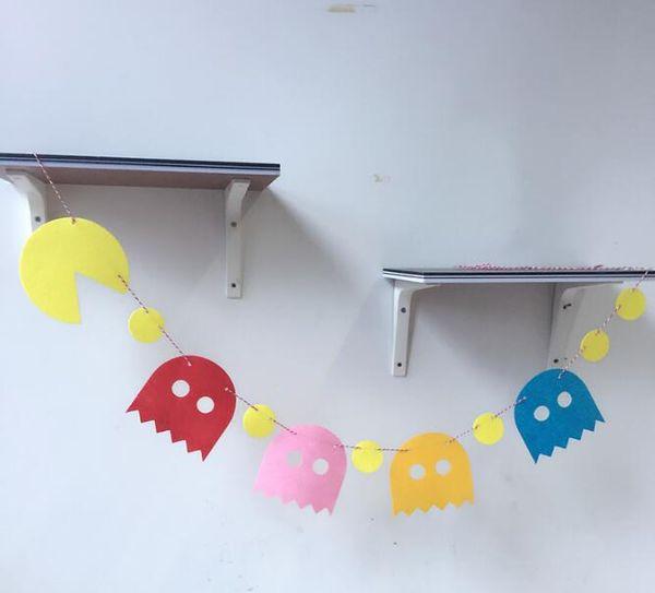 Compre Pac Man Felt Banner Bandera Fiesta De Cumpleaños Clip De Foto Decoración Bunting Para 80s Juego De Tela De Suministro A 536 Del Totwo7