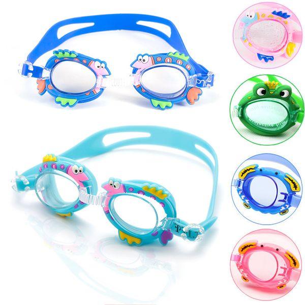 Children Learn Swim Goggles Cartoon Shark Pattern Waterproof Antifog Eyewear Kids Boys Girls Silicone Swimming Glasses New Arrival 6bj Y