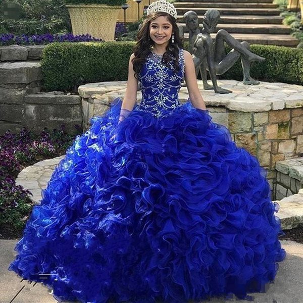 Tiered Cascading Ruffles Ball Gown Quinceanera Dresses Major Beading Crystal Sheer Neck Organza Girl Party Sweet 15-16 Debutantes Dress