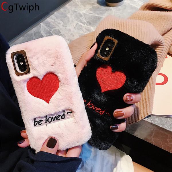 Embroidery Love Heart Phone Case For iphone XS XR XS Max 8 8plus 7 7plus 6 6S Plus X 10 Fundas Rex Rabbit Hair Plush Back Cover