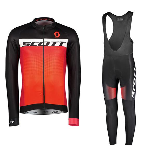 SCOTT team Cycling long Sleeves jersey bib pants sets 2019 men autumn men quick dry bicycle Great value U40934