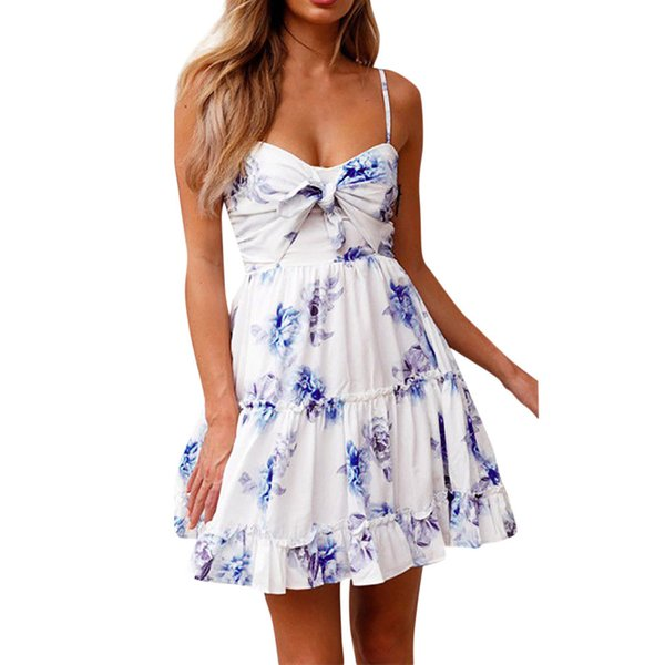 preview of on wholesale running shoes 2019 New Creative Women Summer Dress Womens Floral Spaghetti Strap Tie Knot  Front Flowy Pleated Mini Swing Dresses Vestidos Casual Cocktail Dress Pale  ...