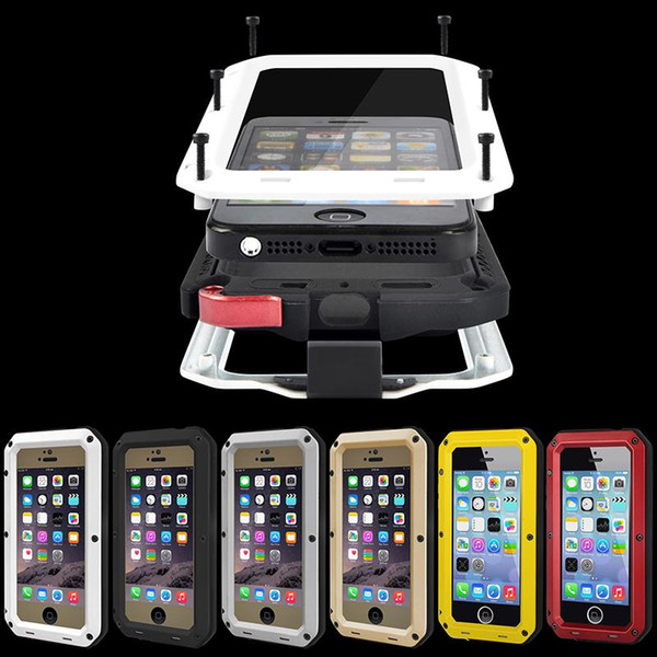 Luxury IPX3 CellPhone Case For iPhone 5 5s SE 6 6sPlus 7 7Plus Shockproof Waterproof Powerful Aluminum Gorilla Glass Metal Cover